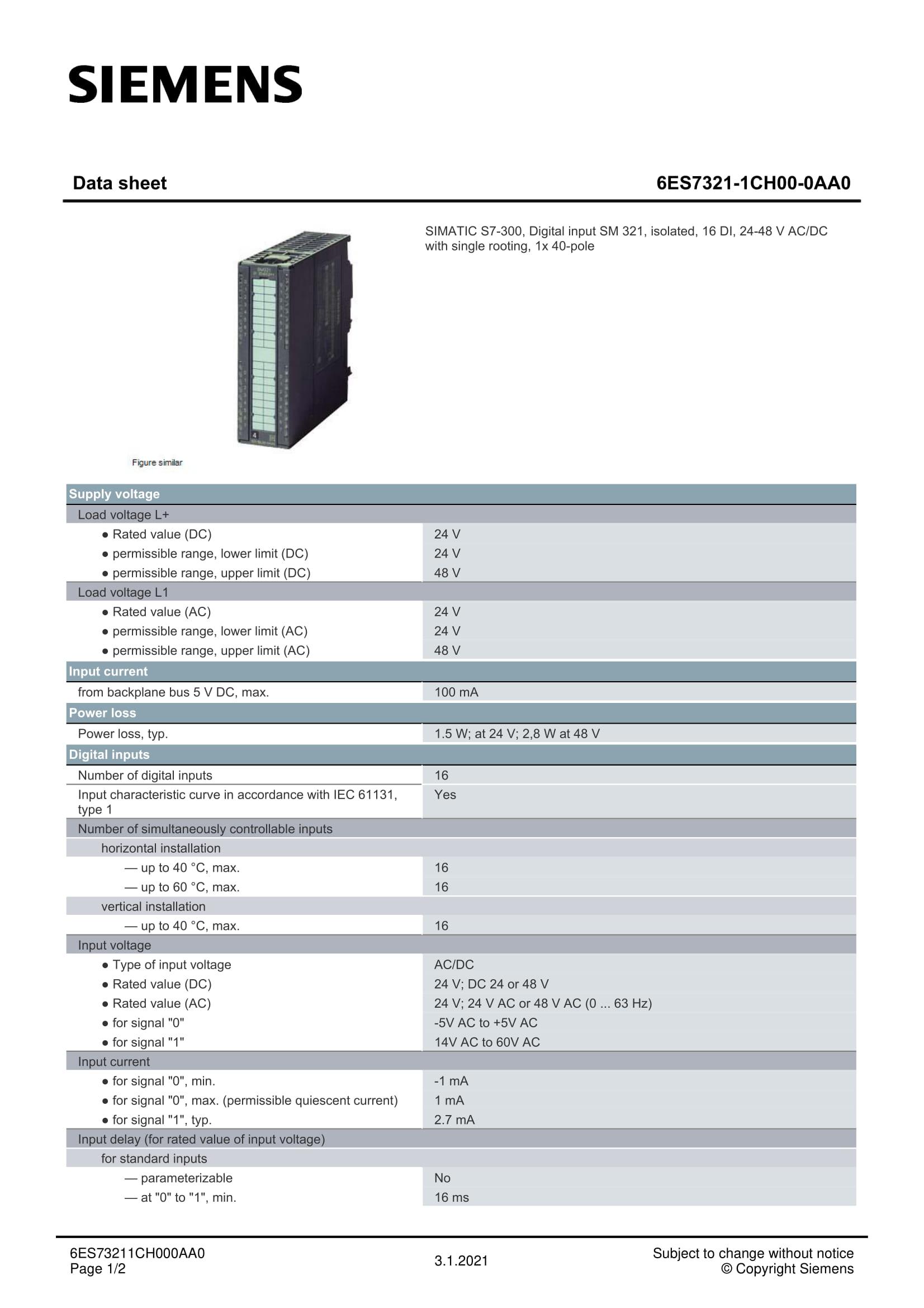 6ES7321-1CH00-0AA0
