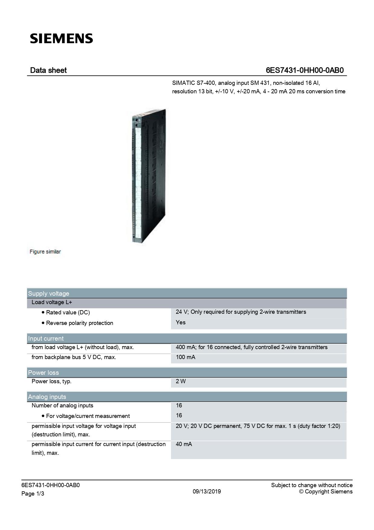 6ES7431-0HH00-0AB0_datasheet