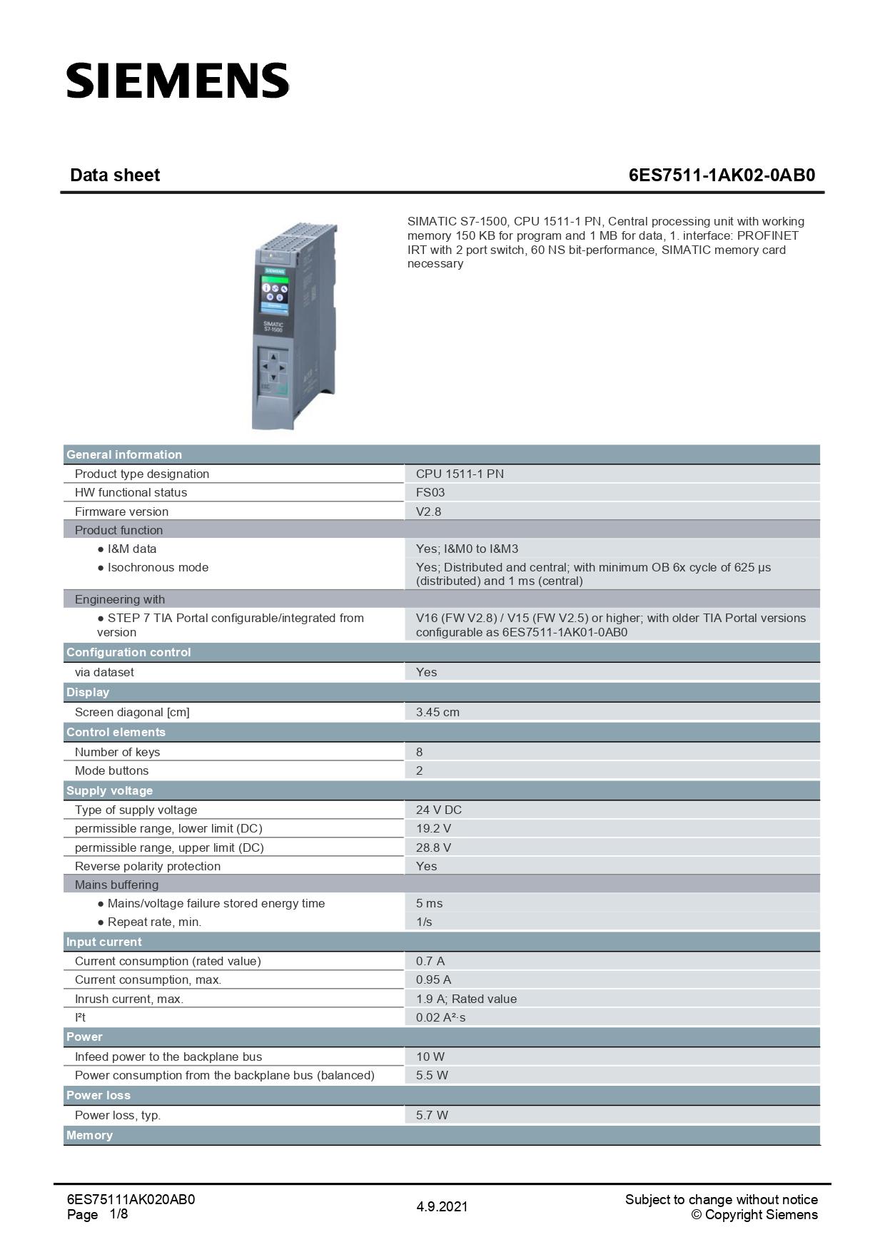 6ES75111AK020AB0_datasheet