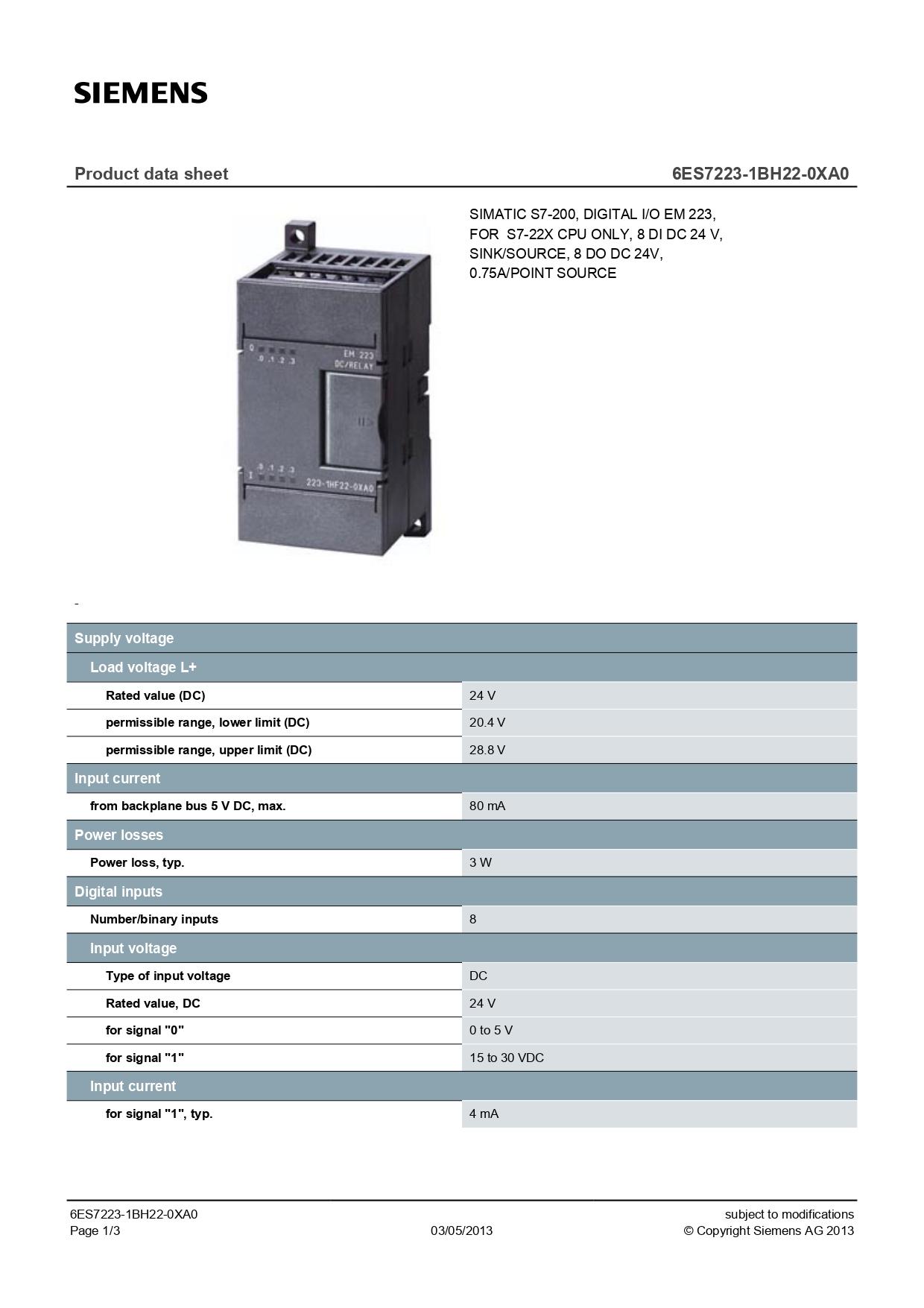 6ES7223-1BH22-0XA0-datasheet