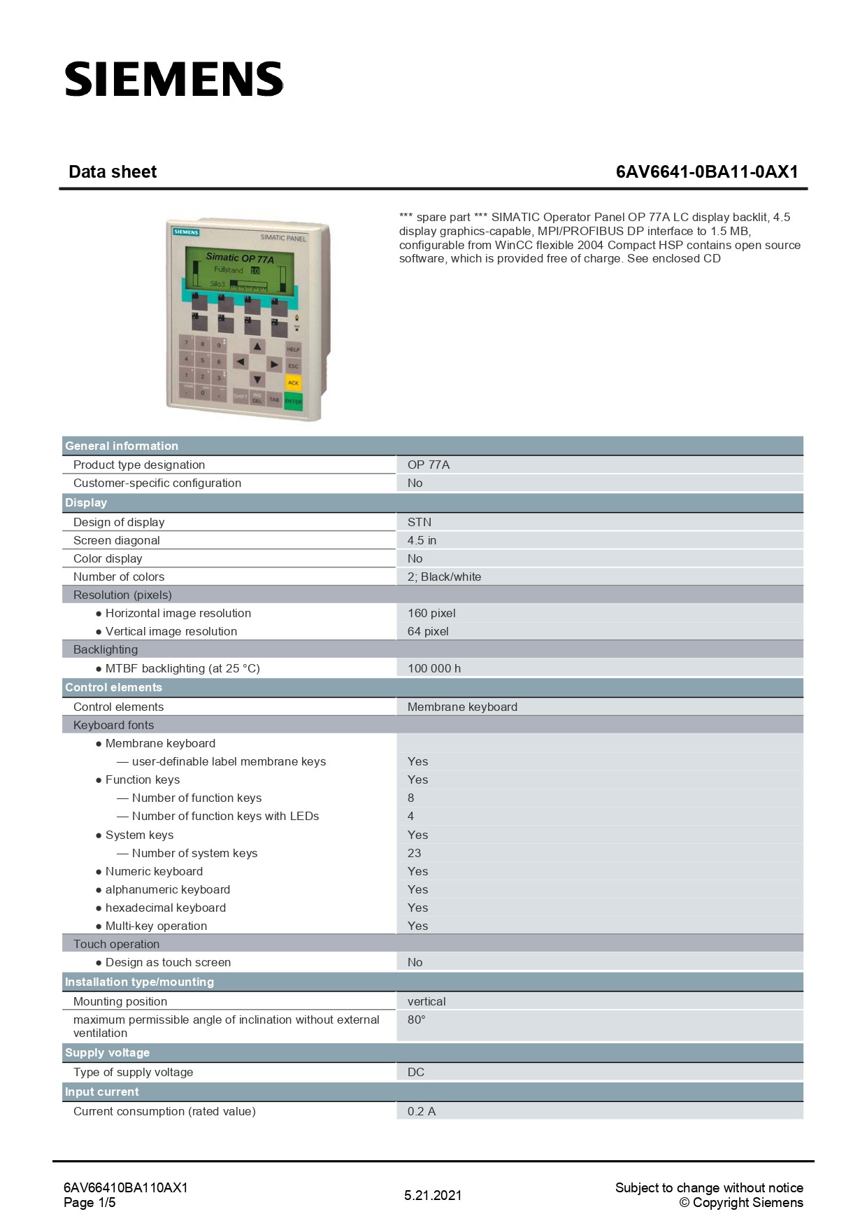 6AV66410BA110AX1_datasheet