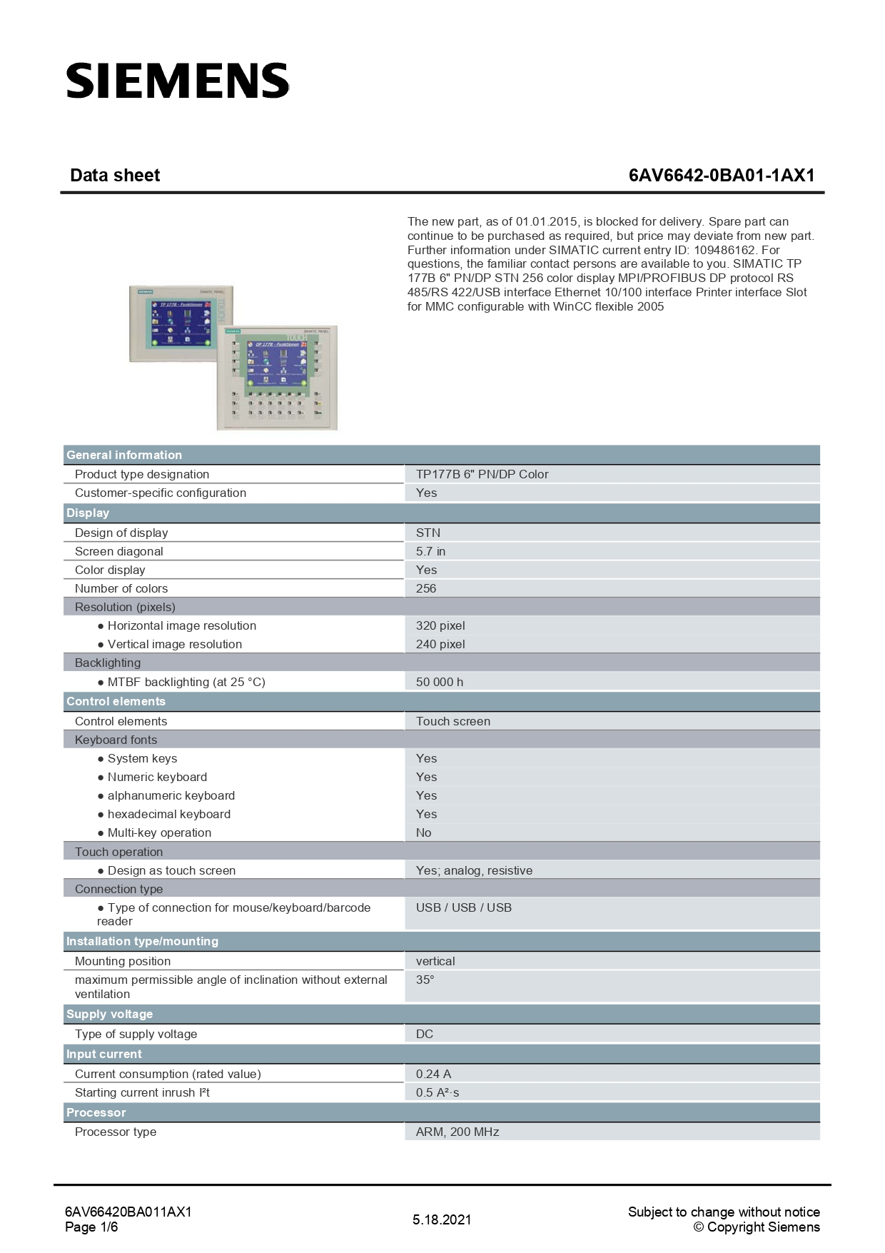 6AV66420BA011AX1_datasheet