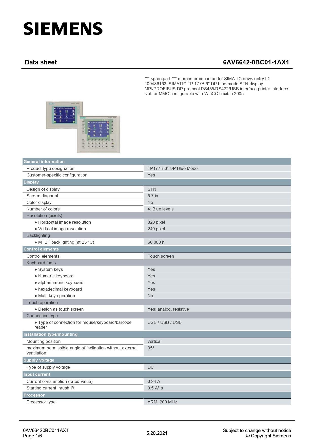 6AV66420BC011AX1_datasheet