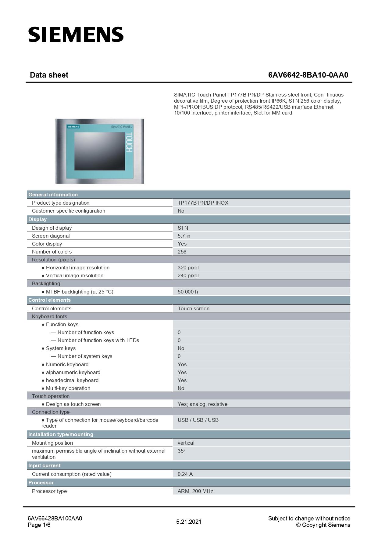 6AV66428BA100AA0_datasheet
